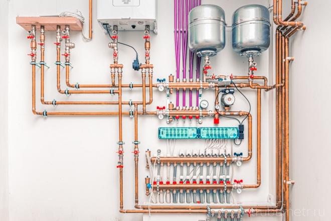 Медные трубы в системе автономного отопления в котельной.